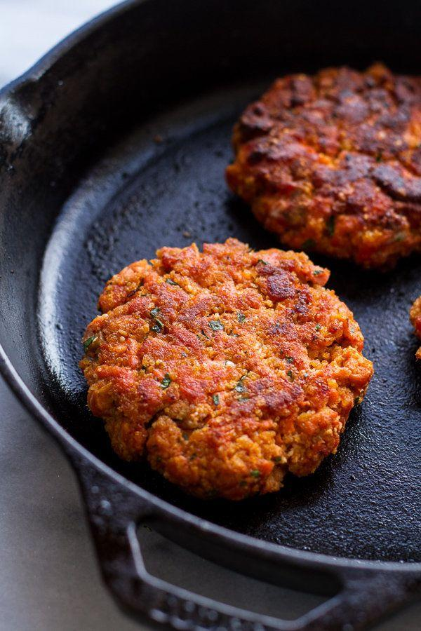 """<strong>Get the <a href=""""http://www.halfbakedharvest.com/curried-salmon-burger-lettuce-wraps-wcrispy-sweet-potato-straws-goat-cheese/"""" target=""""_blank"""">Curried Salmon Burgers recipe</a> from Half Baked Harvest</strong>"""