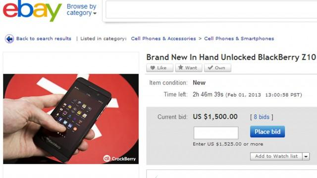 BlackBerry Z10 Smartphone Already Going for $1,500 on eBay
