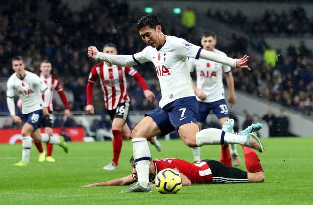 Son Heung-min was on the scoresheet for Spurs (Bradley Collyer/PA)