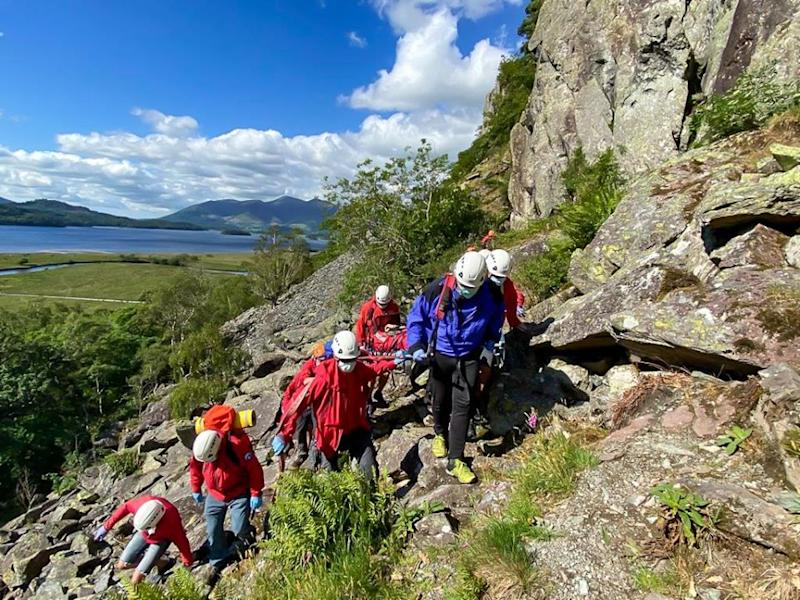 The teenage climber was carried to safety (Keswick Mountain Rescue Team)