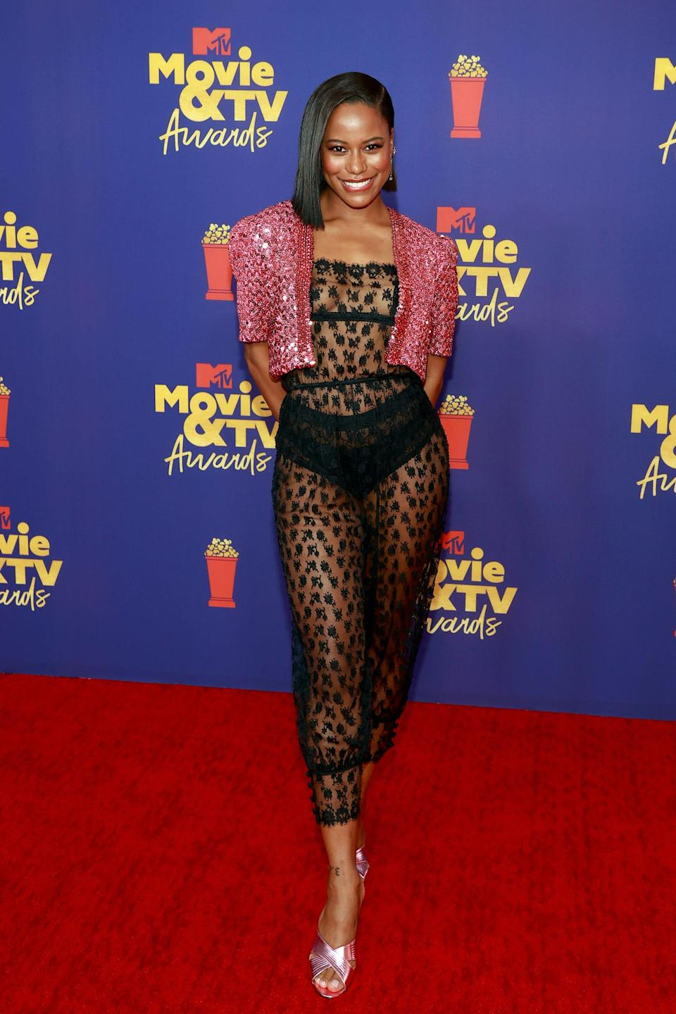 Taylour Paige attends the 2021 MTV Movie Awards on May 16