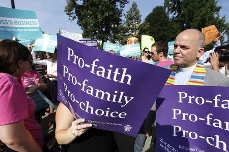 Pro-choice demonstrators rally outside the U.S. Supreme Court in Washington