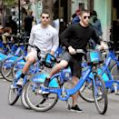 <p>Two-thirds of the JoBros did some cardio through the streets of New York City on Citi Bikes. Too bad Kevin wasn't around! (Photo: Christopher Peterson/Splash News) </p>