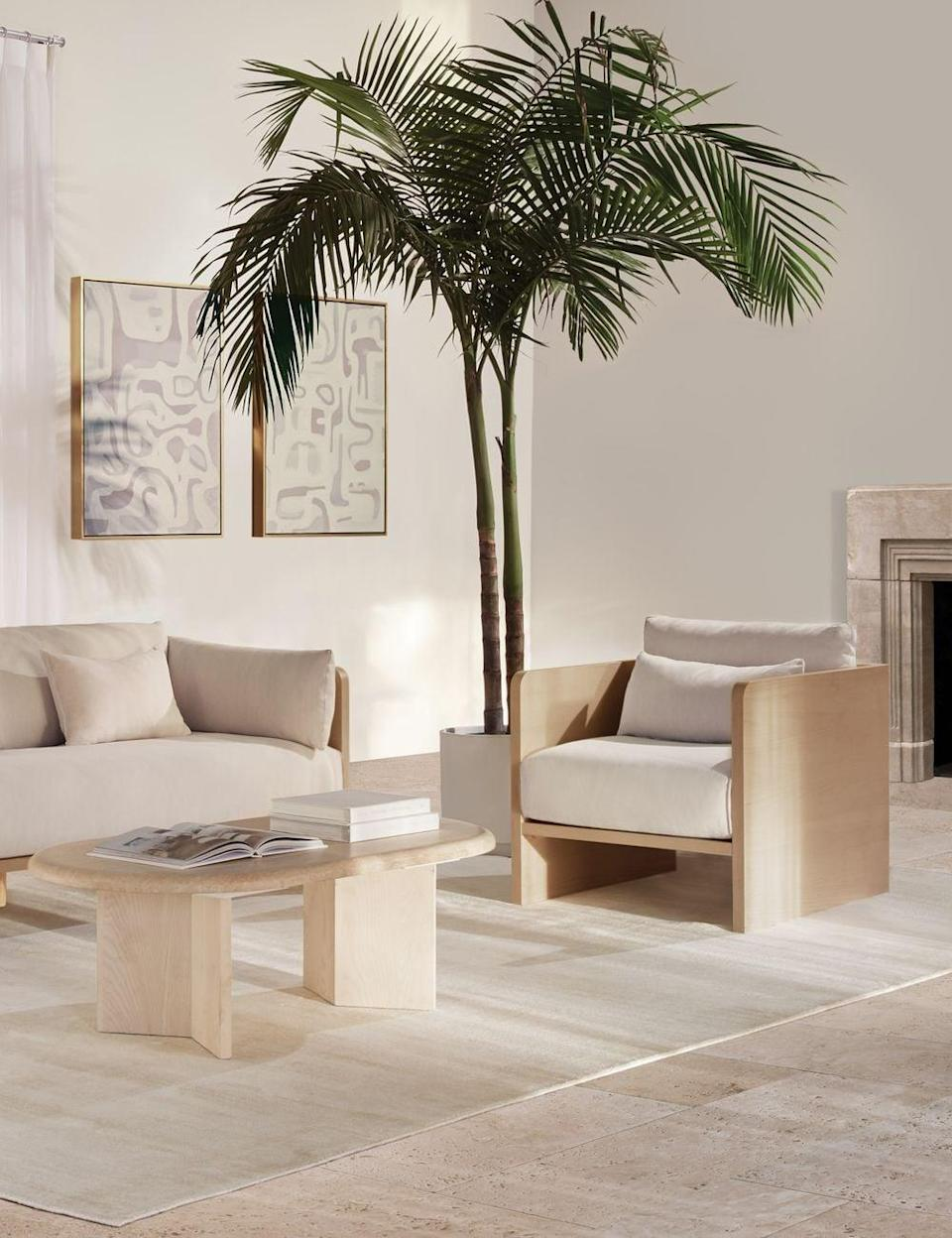 <p>We love a good accent chair, and the <span>Lulu and Georgia Anders Accent Chair</span> ($1,048, originally $1,495) is at the top of our wish list. The mix of light wood and chic fabric looks and feels so elevated.</p>