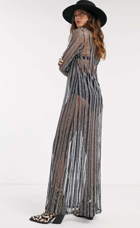The Sacred Hawk maxi dress in black silver stripe, $80 (RRP $100) by ASOS. Photo: ASOS.