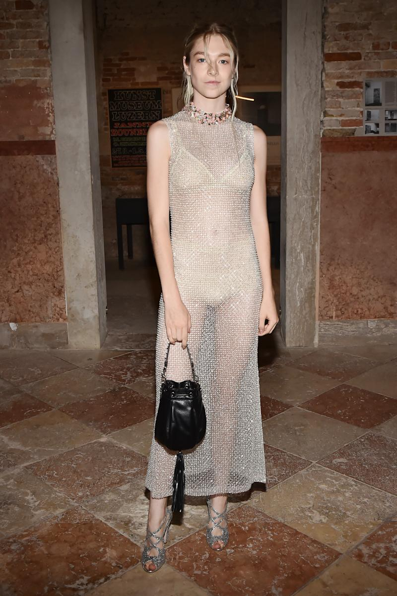 American model and actress Hunter Schafer attends Miu Miu Women's Tales Dinner during Venice Film Festival. Photo: Getty