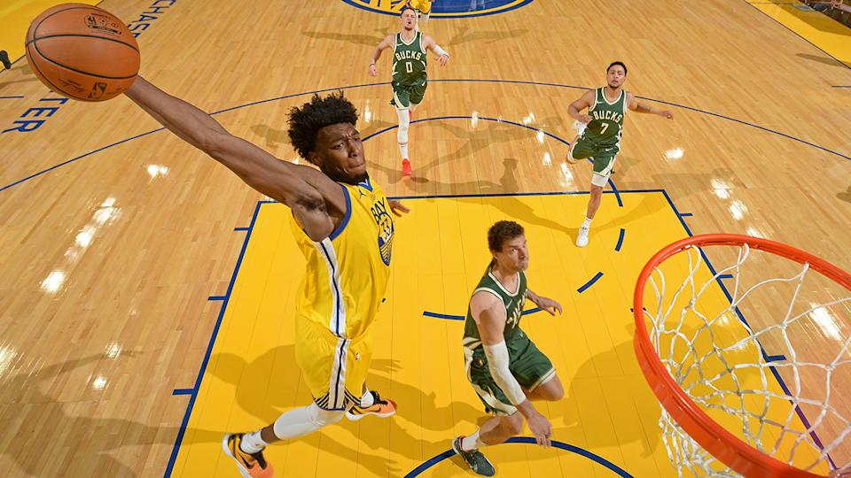 Warriors big man James Wiseman didn't have the rookie season he was hoping for, making his status as a dynasty league keeper all the more of a risk. (Photo by Noah Graham/NBAE via Getty Images)