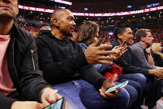 Recording artist Timbaland attends game four of the NBA Eastern Conference Finals between the Milwaukee Bucks and the Toronto Raptors at Scotiabank Arena on May 21, 2019 in Toronto, Canada. (Photo by Gregory Shamus/Getty Images)