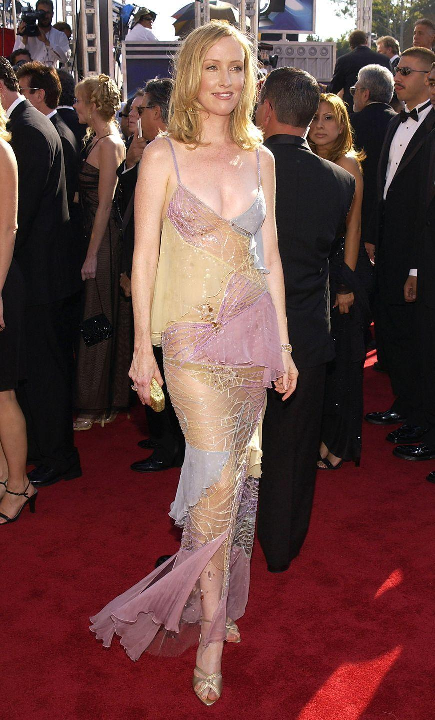 <p>Before the naked dress became ubiquitous, Mahoney hit the red carpet of the Emmys in 2003 in a dangerously sheer lace dress. </p>