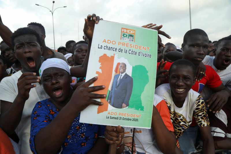 Alassane Ouattara's party holds final campaign events before Ivory Coast election, in Abidjan