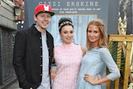 """LONDON, ENGLAND - AUGUST 04: (L to R) Professor Green, Gizzi Erskine and Millie Mackintosh attend the book launch party for """"Gizzi's Healthy Appetite: Food To Nourish The Body And Feed The Soul"""" by chef Gizzi Erskine at Prawnography on August 4, 2015 in London, England. (Photo by David M. Benett/Dave Benett/Getty Images)"""