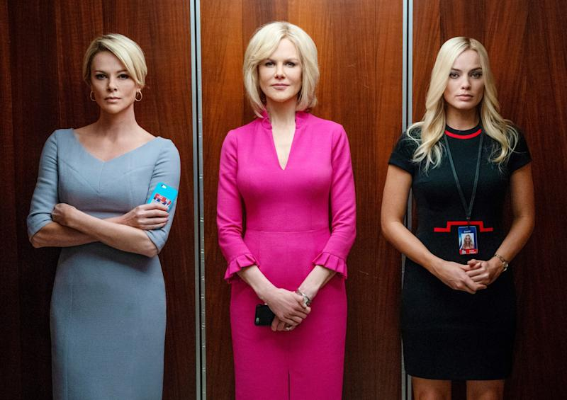 Charlize Theron as Megyn Kelly, Nicole Kidman as Gretchen Carlson, Margot Robbie as Kayla Pospisil in Bombshell.