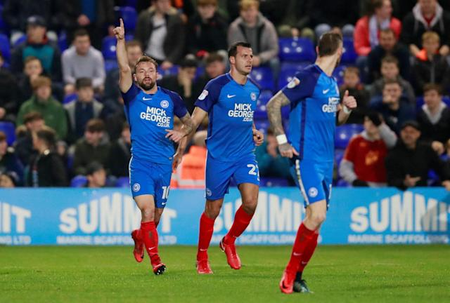 Soccer Football - FA Cup First Round Replay - Tranmere Rovers vs Peterborough United - Prenton Park, Birkenhead, Britain - November 15, 2017 Peterbrough United's Danny Lloyd celebrates scoring his sides second goal Action Images/Jason Cairnduff