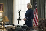 """<p>Eventually rising to President of the United States, Robin Wright portrays Claire Underwood, the wife of a ruthless, lying politician (Kevin Spacey) that weasels his way into the White House and ultimately resigns from his role. Spacey was fired from the series following allegations of <a href=""""https://www.esquire.com/entertainment/tv/a22088918/robin-wright-interview-kevin-spacey/"""" rel=""""nofollow noopener"""" target=""""_blank"""" data-ylk=""""slk:sexual harassment"""" class=""""link rapid-noclick-resp"""">sexual harassment</a>, and the sixth and final season painted the necessary portrait of a female Commander-in-Chief.</p><p><a class=""""link rapid-noclick-resp"""" href=""""https://www.netflix.com/title/70178217"""" rel=""""nofollow noopener"""" target=""""_blank"""" data-ylk=""""slk:Watch Now"""">Watch Now</a><br></p>"""