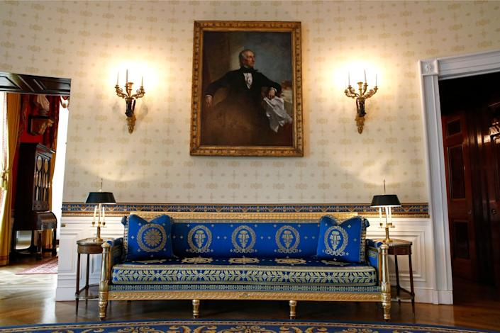 This Sept. 17, 2019, photo shows a piece of restored furniture in the Blue Room of the White House in Washington.