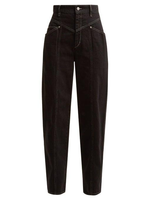 """<p><strong>Isabel Marant</strong></p><p>matchesfashion.com</p><p><strong>$460.00</strong></p><p><a href=""""https://go.redirectingat.com?id=74968X1596630&url=https%3A%2F%2Fwww.matchesfashion.com%2Fus%2Fproducts%2F1244060&sref=http%3A%2F%2Fwww.harpersbazaar.com%2Ffashion%2Ftrends%2Fg28471772%2Fdouble-yoke-denim-jeans%2F"""" target=""""_blank"""">Shop Now</a></p><p>We love a trouser-style jean, and the double yoke detailing lends just the right touch of cool.  </p>"""