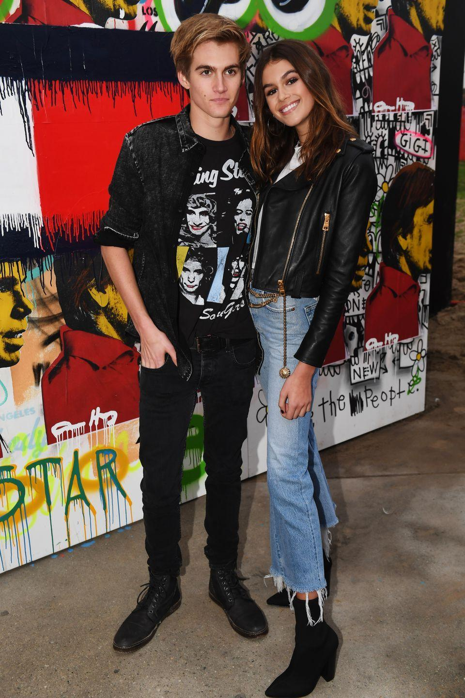 <p>The model joined her older brother, model Presley, for the Tommy Hilfiger Spring 2017 Women's Runway Show wearing black heeled boots, stonewashed cropped jeans and a black biker jacket. But, of course! </p>