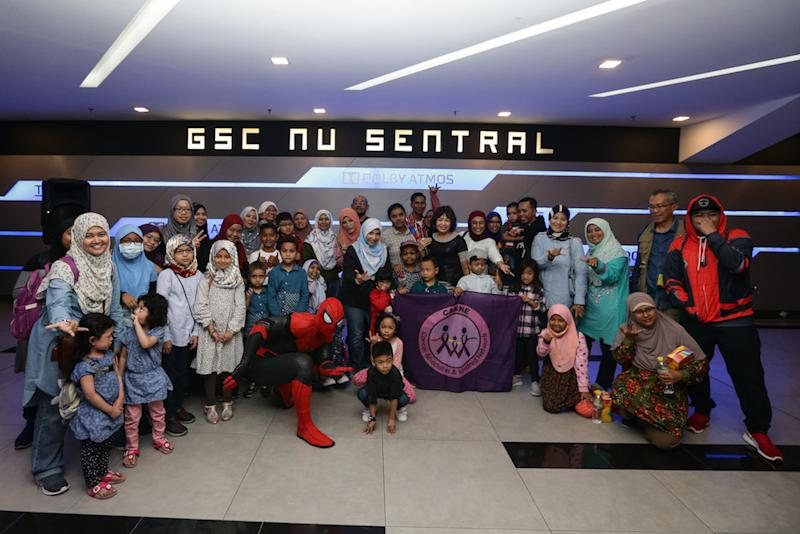 About 60 children with cancer were treated to a special screening of 'Spider-Man: Far from Home' at GSC KL Sentral. — Picture by Ahmad Zamzahuri