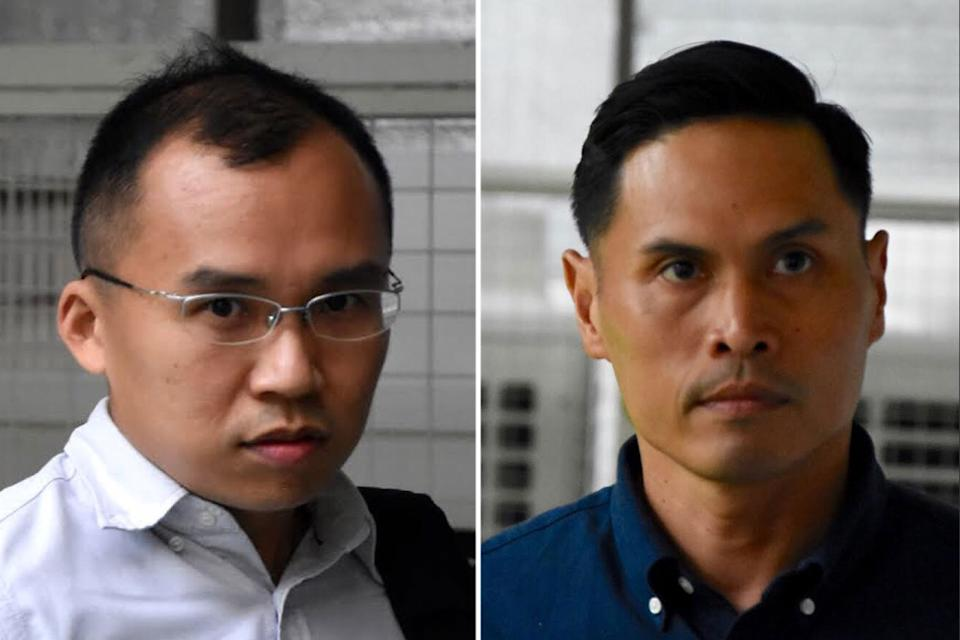 First Senior Warrant Officer Nazhan Mohamed Nazi (right), and Lieutenant Kenneth Chong Chee Boon (left) were in charge of the servicemen who pushed 22-year-old Corporal Kok Yuen Chin into a pump well at the Tuas View Fire Station on 13 May last year. (Yahoo News Singapore file photos)