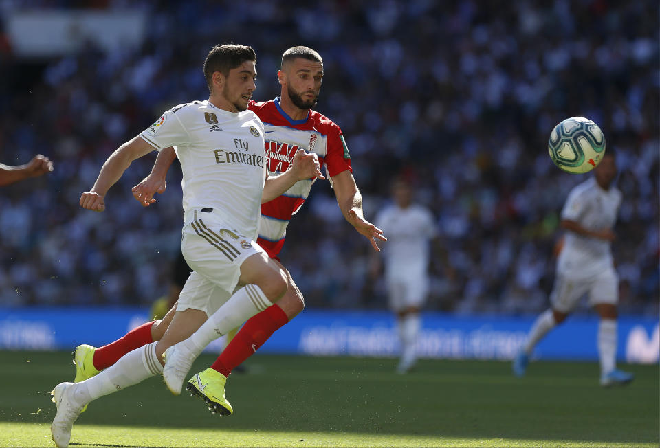 SANTIAGO BERNABEU, MADRID, SPAIN - 2019/10/05: Real Madrid CF's Fede Valverde in action during the Spanish La Liga match round 8 between Real Madrid and Granada CF at Santiago Bernabeu Stadium in Madrid. Final Score: Real Madrid 4 - 2 Granada CF. (Photo by Manu Reino/SOPA Images/LightRocket via Getty Images)