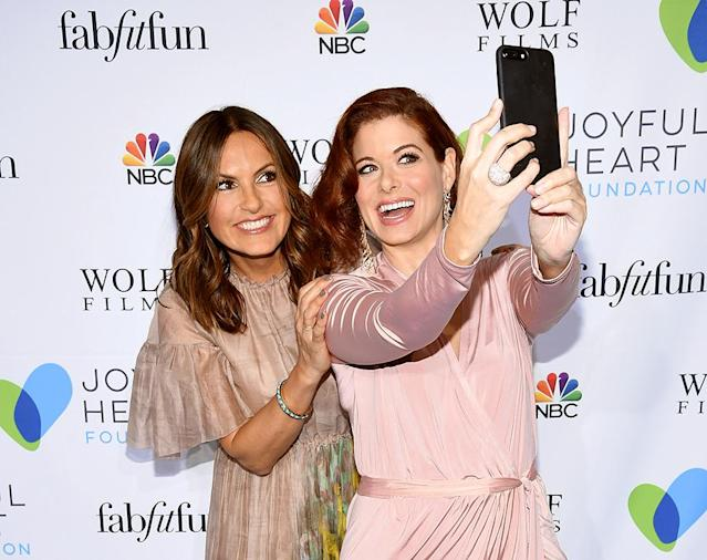 <p>Say cheese! Actresses Mariska Hargitay and Debra Messing couldn't resist snapping a selfie at the Joyful Revolution Gala in NYC. (Photo: Dimitrios Kambouris/Getty Images for Joyful Heart Foundation) </p>