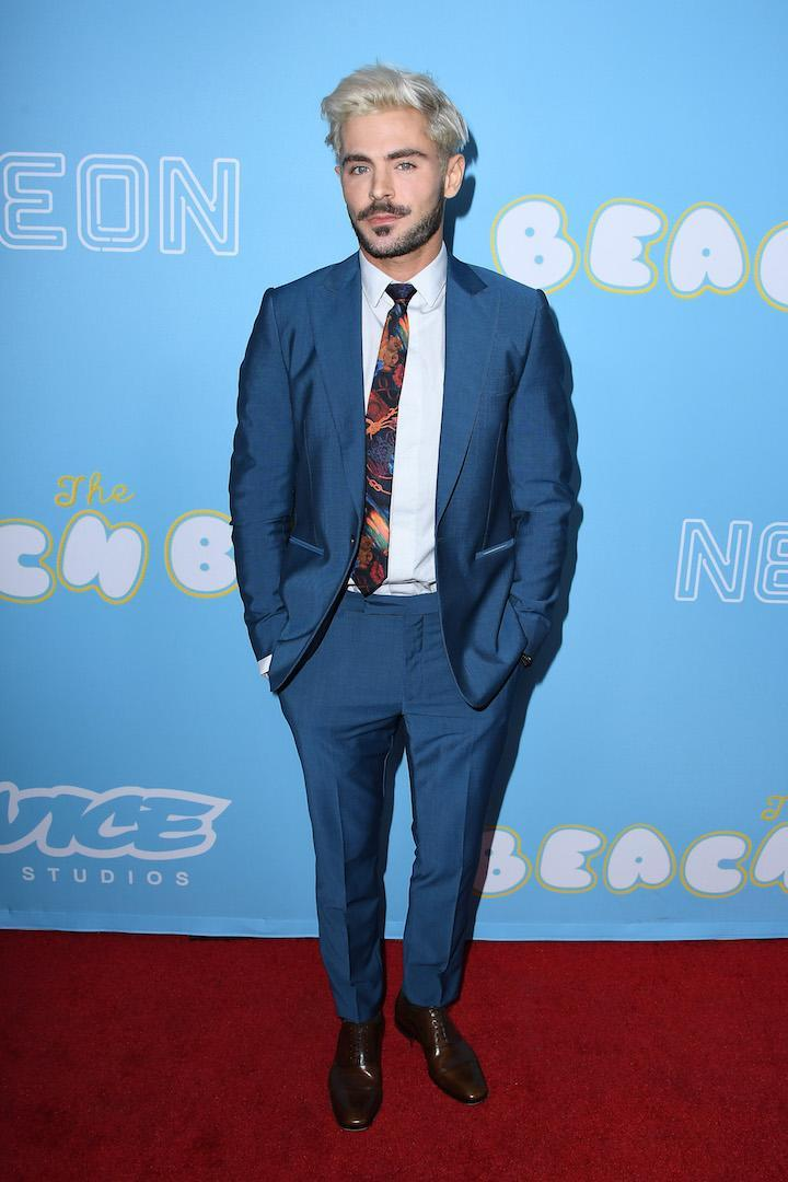 <p>In a rare red carpet appearance, the actor looked seriously dapper in a slick blue suit. <em>[Photo: Getty]</em> </p>