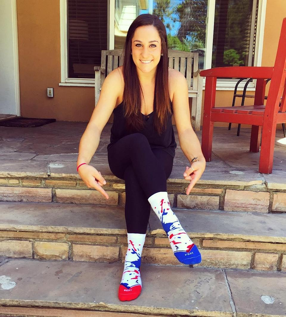 """<p>Yet Fierce Five loyalty remains in her heart. Wieber still supports her former teammates, captioning this photo on her Instagram, """"Thanks for the socks @alyraisman! Perfect for cheering on you and the rest of #teamusa in Rio."""" (@jordyn_wieber on Instagram) </p>"""