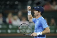 Andy Murray, of Britain, after winning a game against Adrian Mannarino, of France, at the BNP Paribas Open tennis tournament Friday Oct. 8, 2021, in Indian Wells, Calif. (AP Photo/Mark J. Terrill)