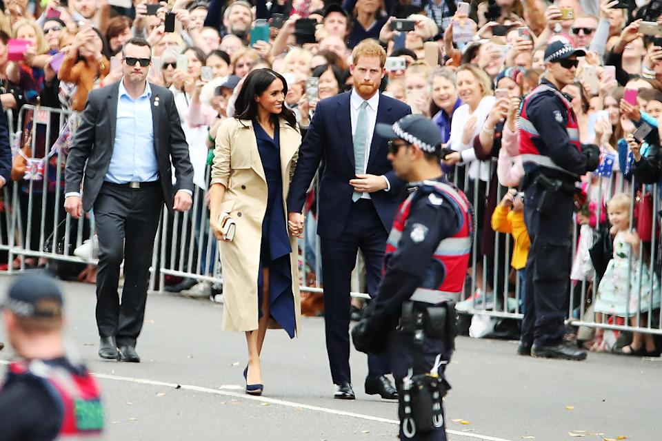 <p>When combined with her $3,140 Gucci shoulder bag, Meghan's total look costs around $10,000. Photo: Getty </p>
