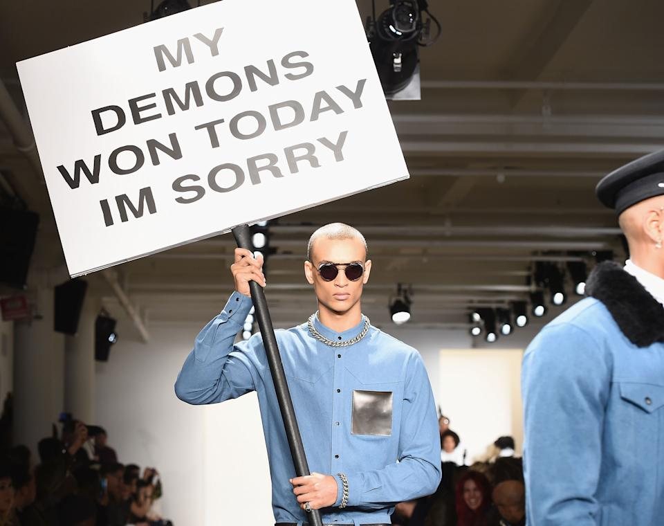 The Pyer Moss Fall 2016 show drew attention to the topic of mental health. (Photo: Ilya S. Savenok/Getty Images)