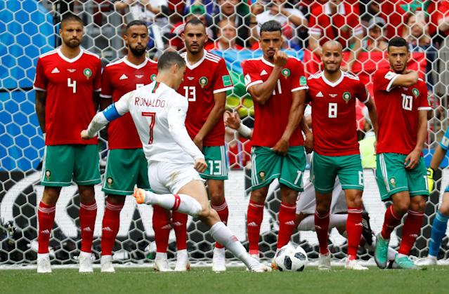 Soccer Football - World Cup - Group B - Portugal vs Morocco - Luzhniki Stadium, Moscow, Russia - June 20, 2018 Portugal's Cristiano Ronaldo shoots at goal from a free kick REUTERS/Kai Pfaffenbach TPX IMAGES OF THE DAY