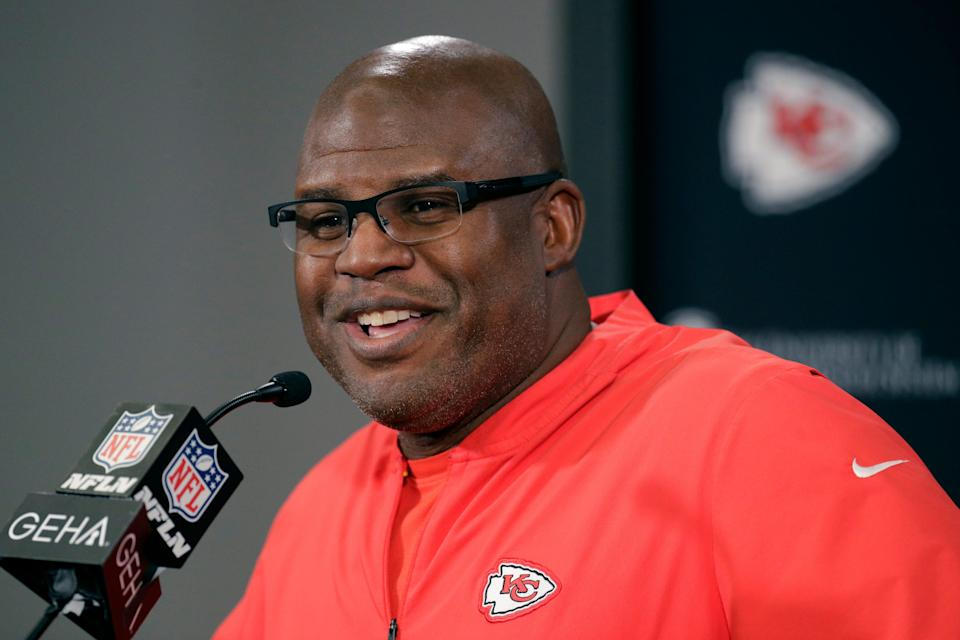 FILE - In this Thursday, Jan. 16, 2020 file photo, Kansas City Chiefs offensive coordinator Eric Bieniemy addresses the media during a news conference for Sunday's NFL AFC championship football game at Arrowhead Stadium in Kansas City, Mo. Troy Vincent wrapped up the NFL's three-day General Manager Forum and Quarterback Coaching Summit with a passionate plea to anyone who still thinks there aren't worthy Black candidates for head coaching positions. Vincent praised Houston Texans assistant coach Pep Hamilton, Kansas City Chiefs offensive coordinator Eric Bieniemy, Philadelphia Eagles quarterbacks coach Brian Johnson and several other coaches who gave impressive presentations during this week's webinar.  (AP Photo/Charlie Riedel, File)