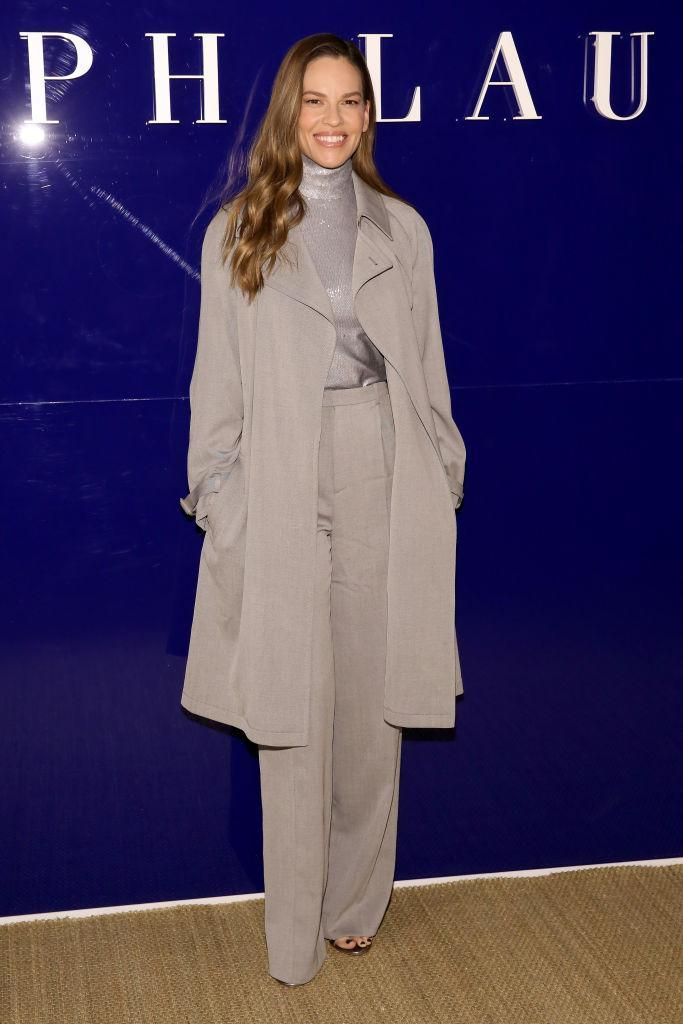 <p>Hilary Swank made a rare fashion week appearance at the Ralph Lauren show. <em>[Photo: Getty]</em> </p>