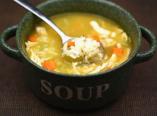"<strong>Get the <a href=""http://www.twopeasandtheirpod.com/easy-chicken-and-rice-soup-recipe/"" rel=""nofollow noopener"" target=""_blank"" data-ylk=""slk:Easy Chicken and Rice Soup recipe from Two Peas & Their Pod"" class=""link rapid-noclick-resp"">Easy Chicken and Rice Soup recipe from Two Peas & Their Pod</a></strong>"