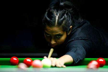 Vidya Pillai of India plays a shot during her final match against Ng On Yee of Hong Kong during the Eden World Women's Snooker Championship in Singapore March 19, 2017. REUTERS/Yong Teck Lim