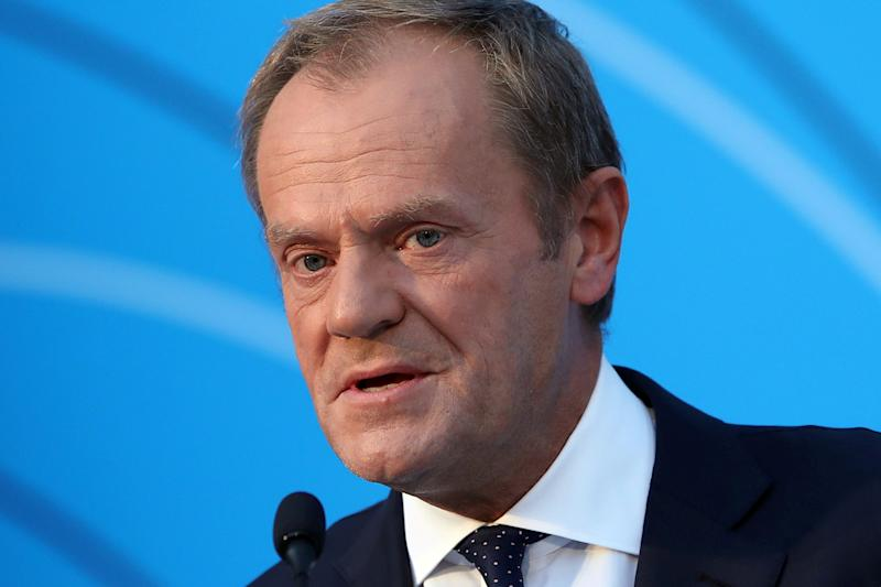 European Council President Donald Tusk delivers a speech at the Athens Democracy Forum in Athens, Greece, October 9, 2019. REUTERS/Costas Baltas