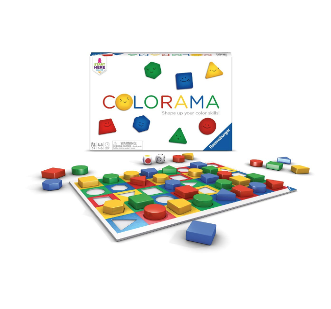 """<p><strong>Ravensburger</strong></p><p>amazon.com</p><p><strong>$21.63</strong></p><p><a href=""""https://www.amazon.com/dp/B004KZ597A?tag=syn-yahoo-20&ascsubtag=%5Bartid%7C10055.g.29352000%5Bsrc%7Cyahoo-us"""" rel=""""nofollow noopener"""" target=""""_blank"""" data-ylk=""""slk:Shop Now"""" class=""""link rapid-noclick-resp"""">Shop Now</a></p><p>Whether she plays by herself or a group of six, this board game <strong>helps her develop basic color and shape skills</strong>. She has to roll the die, which tell her to find the matching piece and place it on the game board. The game ends when each piece is placed accordingly and all colorful shapes are revealed. It's the perfect game for 4-year-olds who might not be able to read just yet and are just starting to learn how to share or take turns. <em>Ages 3+</em><br></p>"""