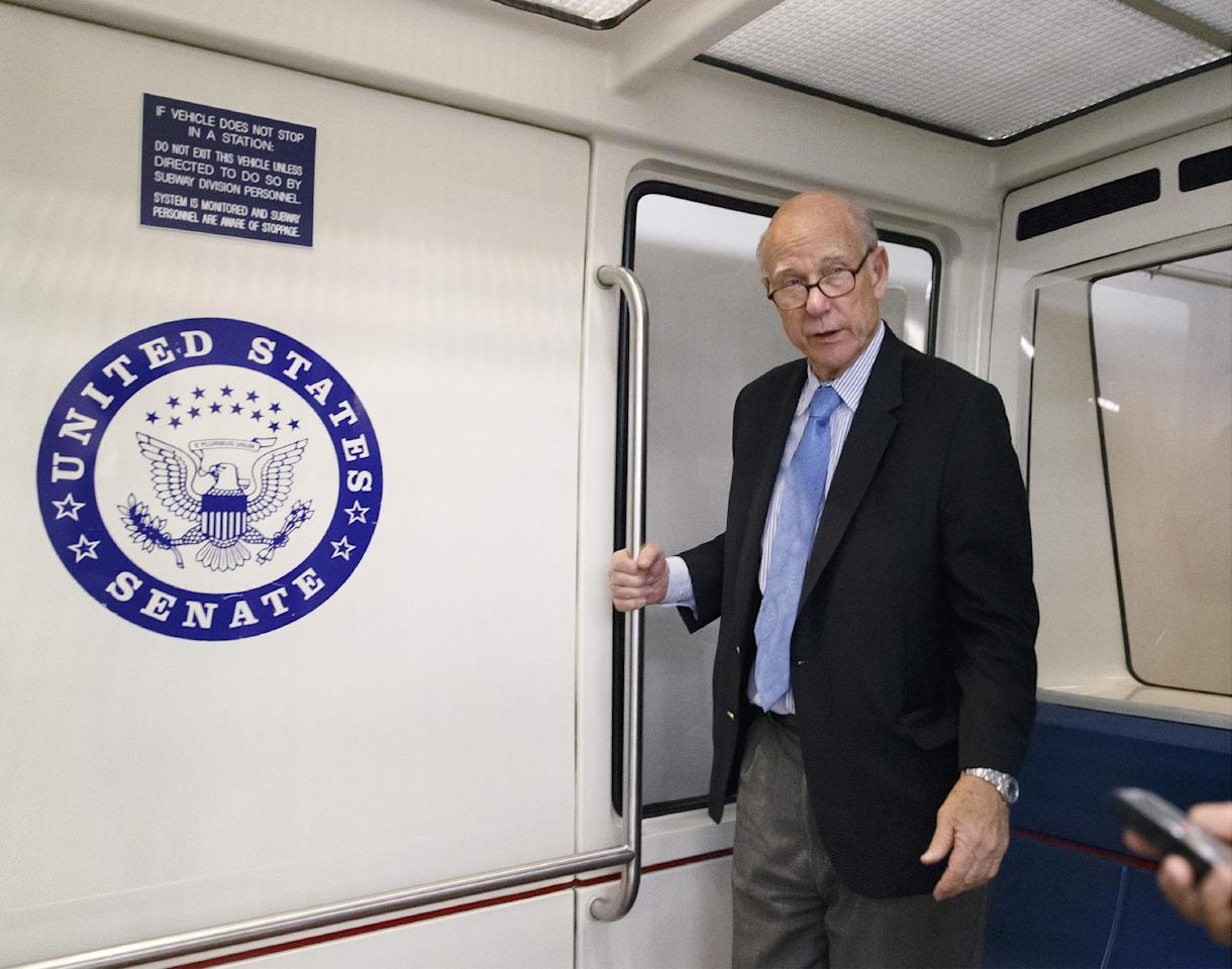 Sen. Pat Roberts, R-Kan., boards a shuttle to return to his Capitol Hill office following a procedural vote on a comprehensive defense bill, in Washington, Thursday, Dec. 19, 2013. A hard-right conservative group led by former Kansas Congressman Jim Ryun is endorsing a Republican who is trying to oust three-term GOP Sen. Pat Roberts. (AP Photo/J. Scott Applewhite)