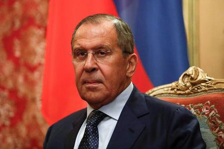 Russian Foreign Minister Sergei Lavrov attends a meeting with his Indian counterpart Sushma Swaraj in Moscow