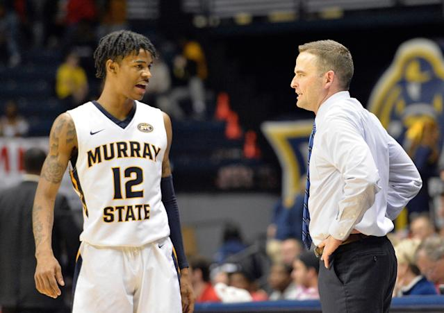 """<a class=""""link rapid-noclick-resp"""" href=""""/ncaab/players/141675/"""" data-ylk=""""slk:Ja Morant"""">Ja Morant</a> and the <a class=""""link rapid-noclick-resp"""" href=""""/ncaaf/teams/murray-st/"""" data-ylk=""""slk:Murray State Racers"""">Murray State Racers</a> became the first team to punch their ticket to the NCAA tournament on Saturday (AP Photo/Timothy D. Easley)"""