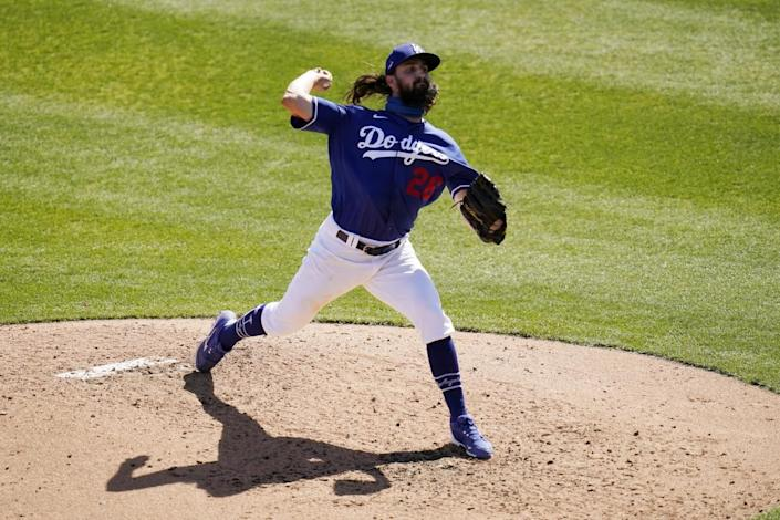 Dodgers pitcher Tony Gonsolin delivers against the San Diego Padres.