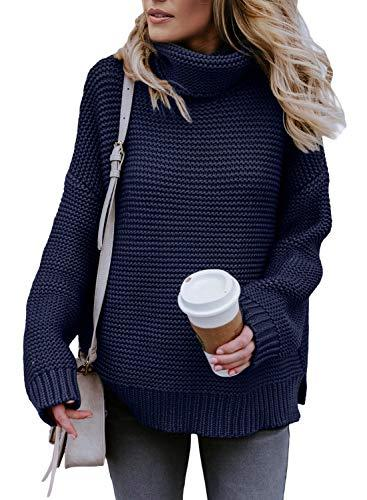 Asvivid Womens Winter Warm Long Sleeve Knitted Turtleneck Sweater Ladies Loose Soft Solid Pullover Sweater Tops S Blue (Amazon / Amazon)