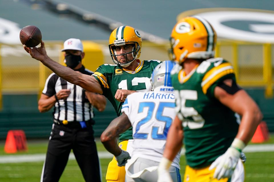 Green Bay Packers' Aaron Rodgers throws during the second half against the Detroit Lions Sunday, Sept. 20, 2020, in Green Bay, Wis.