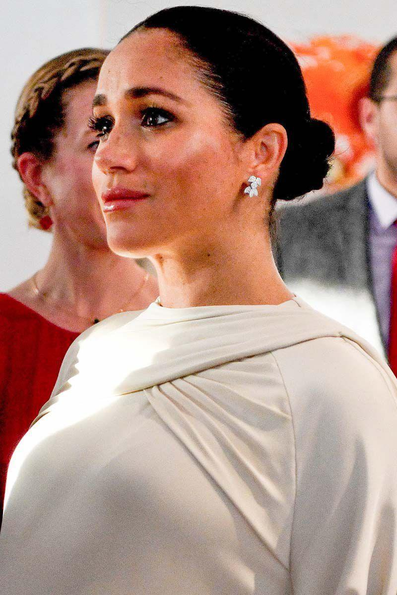 <p>The Duchess of Sussex pulled her hair back into a tight bun for a reception in Morocco. </p>
