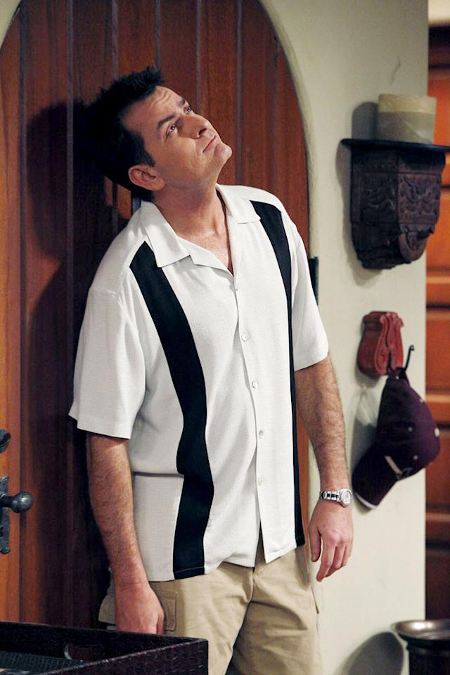 """<a href=""""/charlie-sheen/contributor/29262"""">Charlie Sheen</a> wearing a bowling shirt on """"<a href=""""/two-and-a-half-men/show/35441"""">Two and a Half Men</a>."""""""