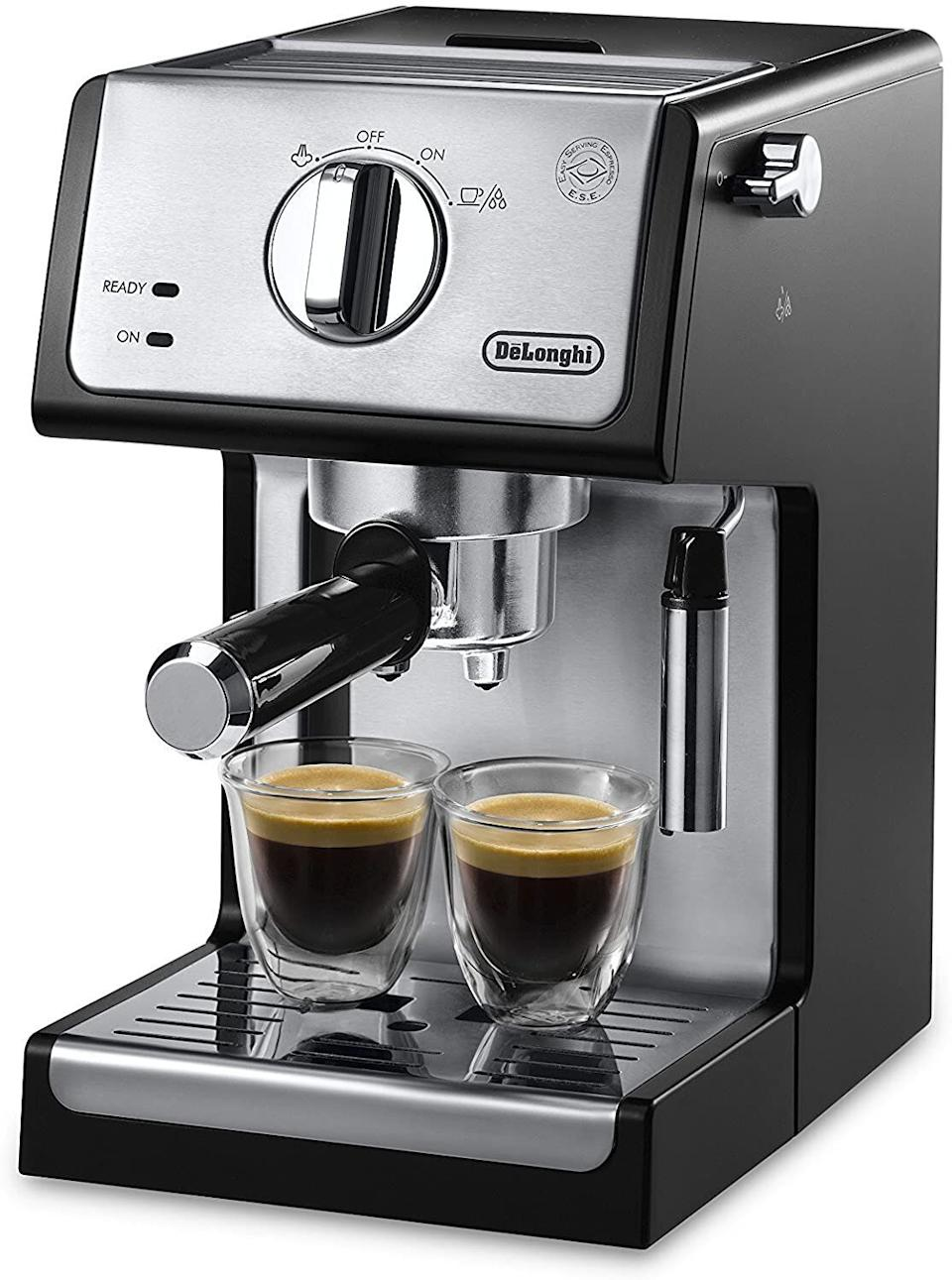 "If you've been missing the cappuccinos from your favorite coffee shop, Prime Day saw <a href=""https://www.huffpost.com/entry/best-prime-day-deals-espresso-machines-2020_l_5f7613a7c5b66377b27ee7f1"" target=""_blank"" rel=""noopener noreferrer"">markdowns on coffee machines</a> from Breville, Nespresso and more. This espresso machine from De'Longhi is still on sale. It has a stainless steel boiler system. <a href=""https://amzn.to/3o8TmHQ"" target=""_blank"" rel=""noopener noreferrer"">Find it on sale for $123 at Amazon</a>."