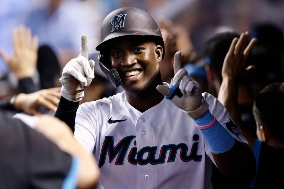 Jesus Sanchez #76 of the Miami Marlins celebrates after hitting a two-run home run off Erick Fedde #23 of the Washington Nationals (not pictured) during the third inning at loanDepot park on September 20, 2021 in Miami, Florida.