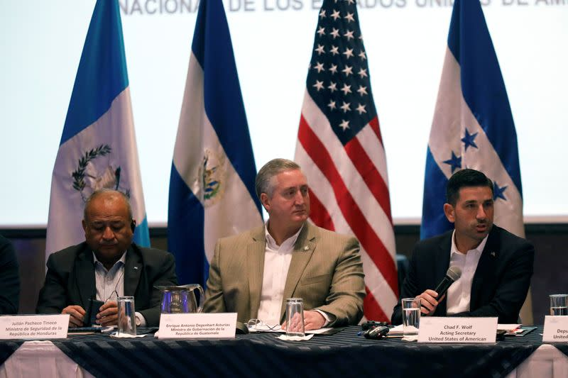 U.S. Department of Homeland Security Acting Secretary Chad Wolf holds a meeting with Guatemala's Interior Minister Enrique Degenhart, in Guatemala City