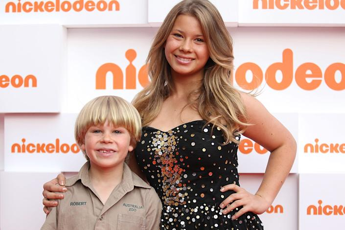 Robert and Bindi Irwin arrive at the 2011 Nickelodeon Kid's Choice Awards at the Sydney Entertainment Centre on October 7, 2011 in Sydney, Australia. (Photo by Mark Metcalfe/Getty Images)