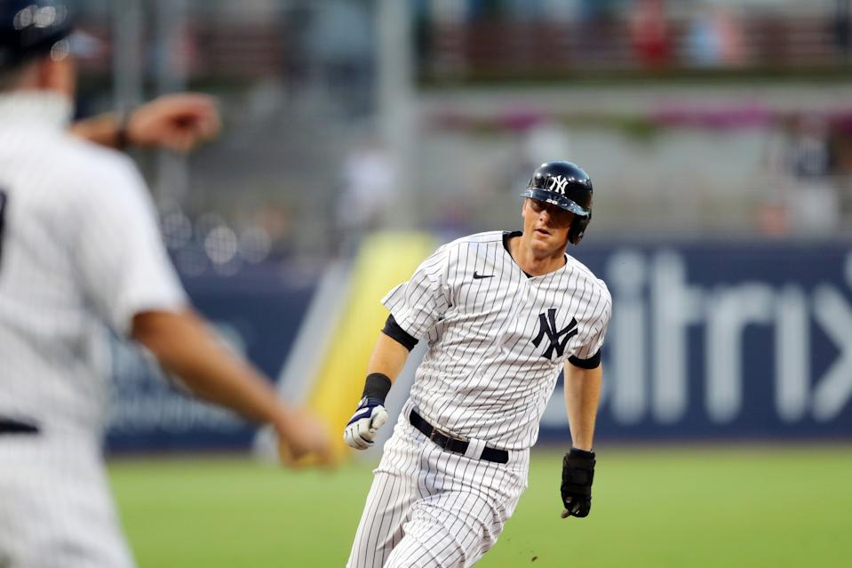 SAN DIEGO, CA - OCTOBER 07: DJ LeMahieu #26 of the New York Yankees rounds third base to score a run in the fifth inning during Game 3 of the ALDS between the New York Yankees and the Tampa Bay Rays at Petco Park on Wednesday, October 7, 2020 in San Diego, California. (Photo by Alex Trautwig/MLB Photos via Getty Images)